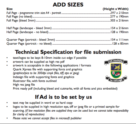 Advert Specification